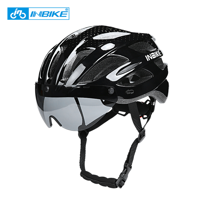INBIKE Bicycle Helmets Men Women MTB Road Bike Helmet Ultralight Integrally-mold Cycling Helmet With Glasses Riding Safely Cap