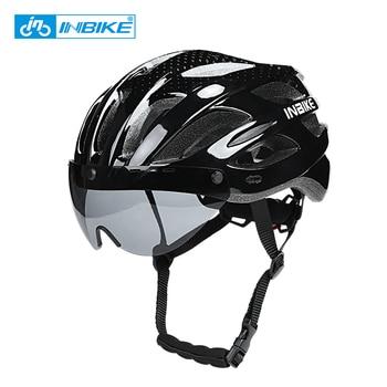 INBIKE Bicycle Helmets Men Women MTB Road Bike Helmet Ultralight Integrally-mold Cycling Helmet With Glasses Riding Safely Cap