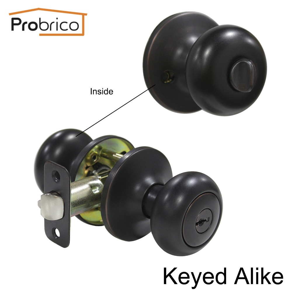 Probrico 10 PCS Stainless Steel Keyed Alike Safe Door Lock Security Oil Rubbed Bronze Door Handles Entrance Locker DL5766ORBET master lock m5xd magnum keyed padlock