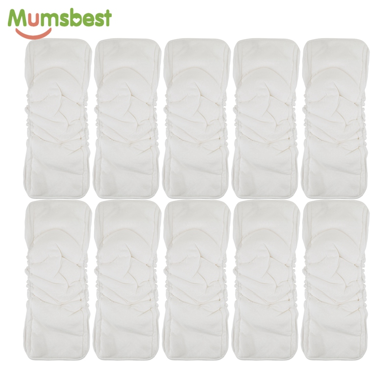 Mumsbest 10PCS Bamboo Cotton 5 Layers Inserts For Baby Cloth Diapers Changing Liners Reusable Baby Nappy Inserts Nappies Mat in Baby Nappies from Mother Kids