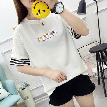 2019 Women's T-shirt Summer O-neck Harajuku T-shirt Soft Kawaii Kitten Print Short-sleeved Shirt Fashion Patchwork Mujer T-shirt