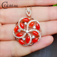 Colife Jewelry Natural Red Coral Necklace Pendant for Wedding 10PCS Italian Precious Coral Jewelry 925 Silver Gemstone Pendant