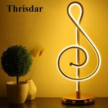 Thrisdar творческий минималистский Книги по искусству линии настольная лампа музыкальные ноты Спальня тумбочка стол свет Гостиная исследование Чтение свет