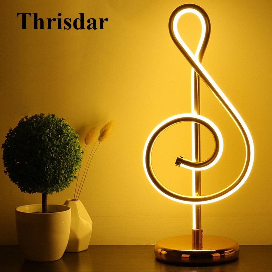 Thrisdar Creative Minimaliste Art Lignes Table Lampe Musical Notes Chambre Table De Chevet Lampe De Bureau Salon Étude Lecture Lumière