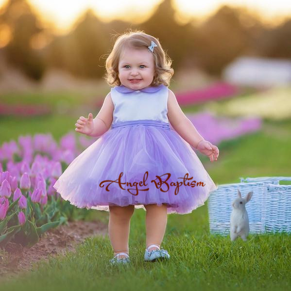 Unique Purple and white flower girl dresses peter pan collar knee length baby girls summer dress 1st birthday outfit with bow st peter s golden ale