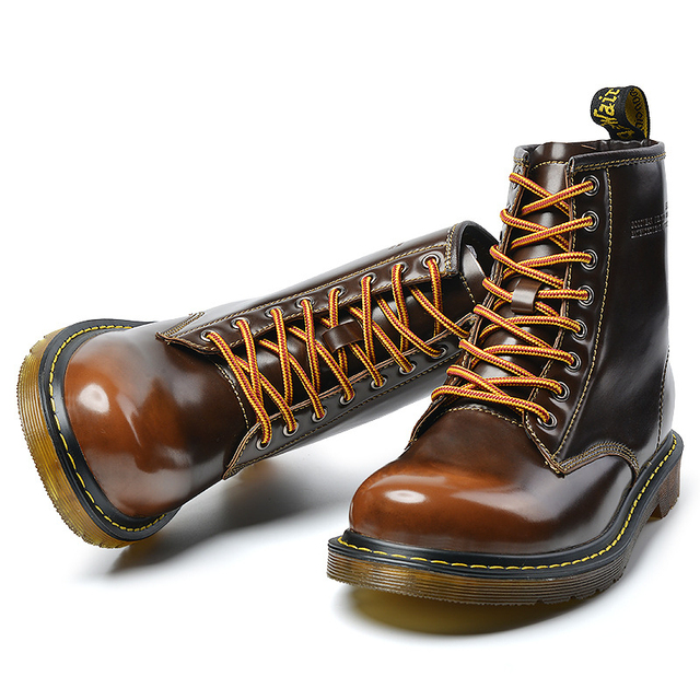 Vintage Erkek yarım çizmeler Topuklu Ayakkabı Martin Çizmeler Kış Sıcak Retro Dantel Kadar deri ayakkabı Yüksek Top Çizmeler Erkek Açık Ayakkabı