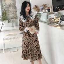 Peter Pan Collar Long Sleeve Dress Women Korean Fashion Chiffon Printed Elegant Dress Femme S-XXL Black OL Ladies Dresses Casual korean kawaii black elegant dress long sleeve button turn down collar autumn dress women s xl sweet simple casual dresses ladies