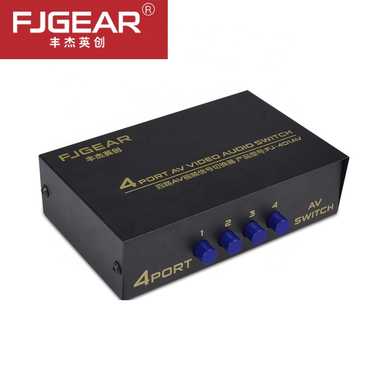 AV Switch Box 4 In 1 Out AV Audio Video Signal Composite For HDTV LCD DVD 3 RCA Switcher 4 To 1 Selector Not Splitte