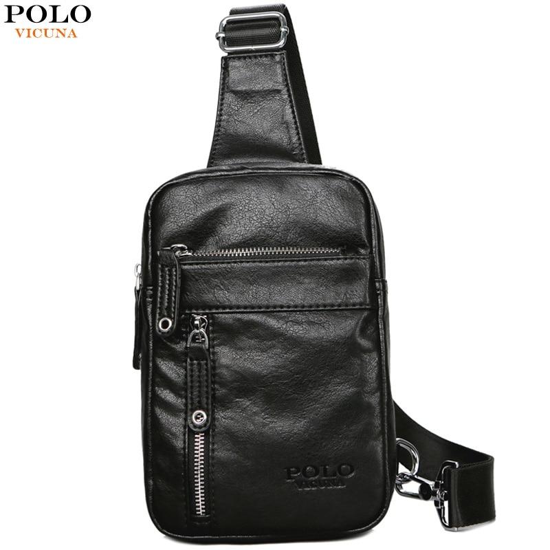 VICUNA POLO Theftproof Vintage Leather Brand Men Messenger Bag Men's Sling Bag With Headphone Hole Large Capacity Man Chest Bag 1