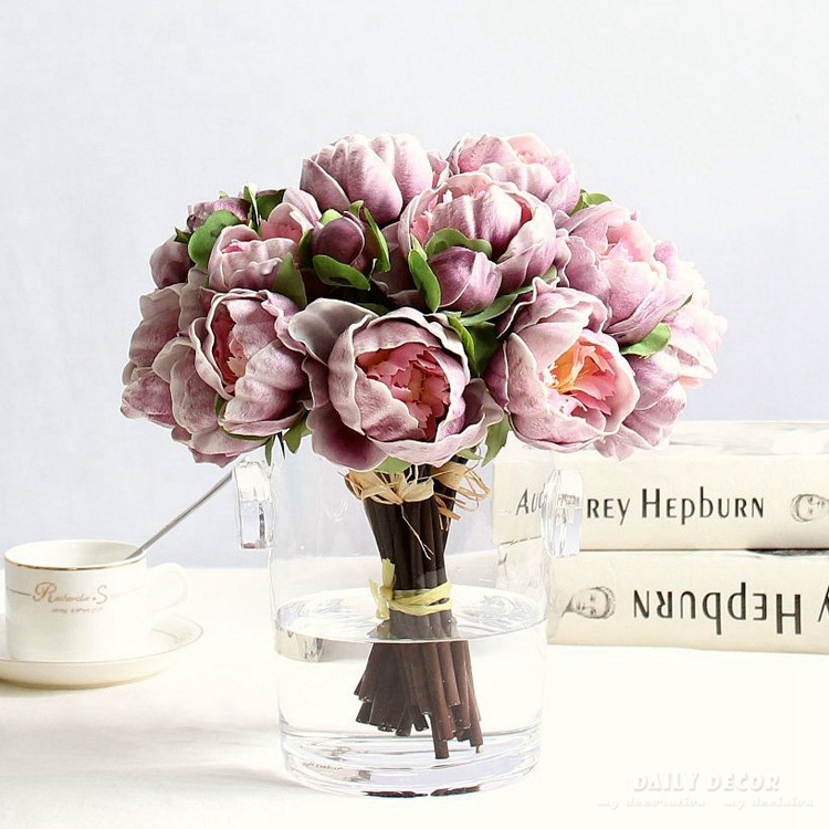 Real / Natural Touch PU Peony Buds bouquet wedding bride Holding flower bridal hand hold flowers home decorative PU Peony