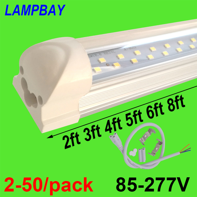 2-50/paquete doble fila luces de tubo led 2ft 3ft 4ft 5ft 6ft 8ft Super brillante barra gemela lámpara T8 bombillas integradas lámpara con accesorios