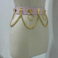Customized Handmade Unisex Men Women Pink Gold Leather Waist Belt Heavy Duty Gothic Bondage Circle Metal Chain Link Waist Strap