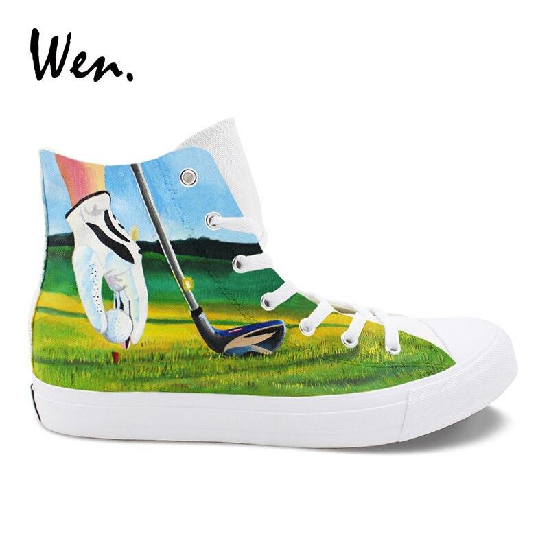 Wen Original Design Playing Golf Hand Painted Shoes Men Canvas Sneakers High Top Women Casual Shoes Espadrilles Flat Plimsolls