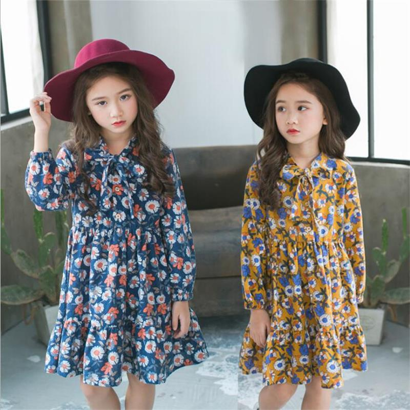 Baby Girls Dress 2018 New Spring Autume Princess Floral Dresses Kids Clothes Leisure Fashion Kids Clothes For Girls 2T to 9T kids dresses for girls fashion girls dresses summer 2016 floral bohemian girl dress princess novelty kids clothes girls clothes