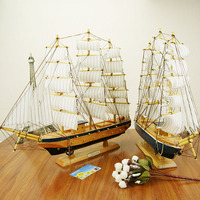 Wood Crafts Desk Ornaments Office Shop Club Decoration Kits Classical 50cm Wooden Sailing Boat Ship Model Home Decor