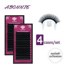 Abonnie All Size 4 Cases 8-17 Curl Individual Eyelashes Faux Mink Eyelashes Extension Artificial Fake False Eyelashes