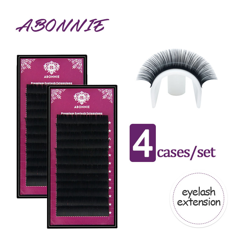 Abonnie All Size 4 Cases 8-17 Curl Individual Eyelashes Faux Mink Eyelashes Extension Artificial Fake False Eyelashes