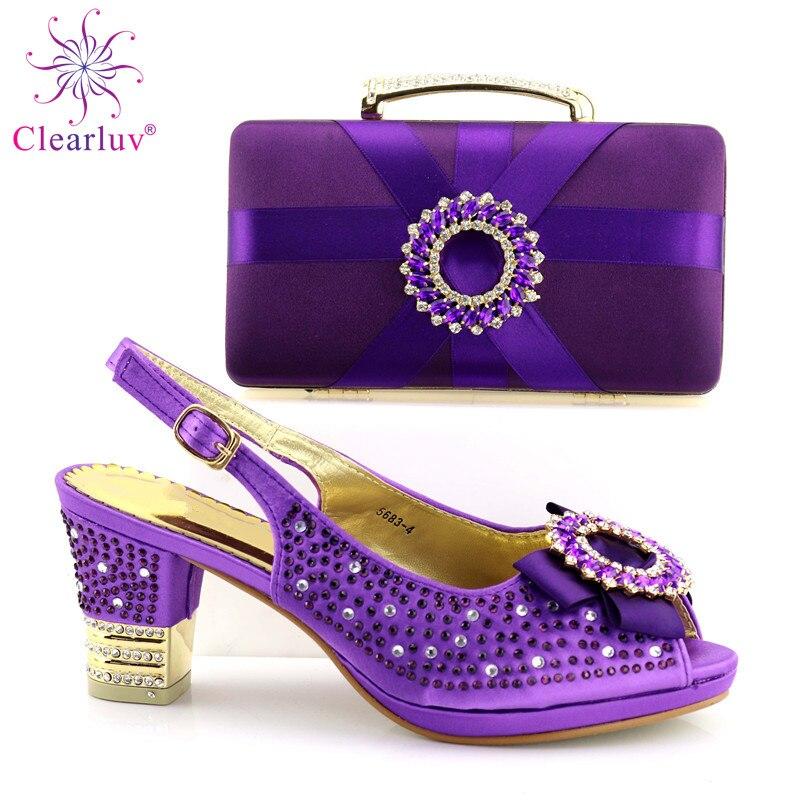 Nigeria Et Italien Sac plum Purple Femmes Assorti Couleur Partie rouge Eau Chaussures De Dernière Clair Parti Africain vert or Bleu Mariage Pompes Pour Vert Le pourpre Xwq7Ixz