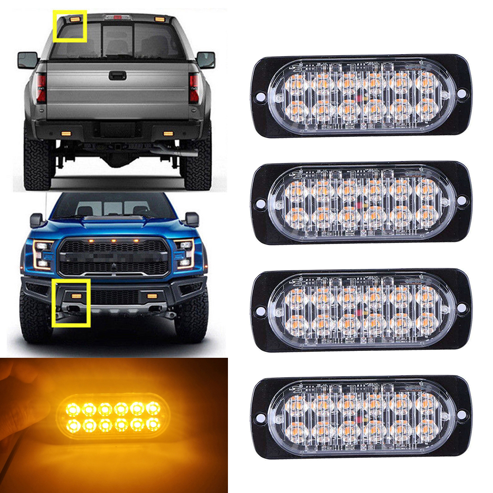 12LED Flashing Recovery Strobe Car Emergency Light Grill Breakdown Beacon Warning Hazard 12V White Blue Amber Red in Car Light Assembly from Automobiles Motorcycles