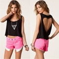 2016 NEW spring Women crops tops Solid colot t shirts Sexy Heart hole Sleeveless Short top Fashion tees ST15