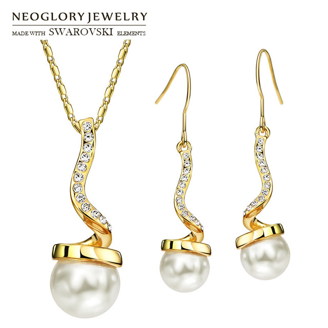 Neoglory Austria Rhinestone   Simulated Pearl Jewelry Set Geometric Round  Design Light Yellow Gold Color Necklace   Earrings f1dce84dacfb