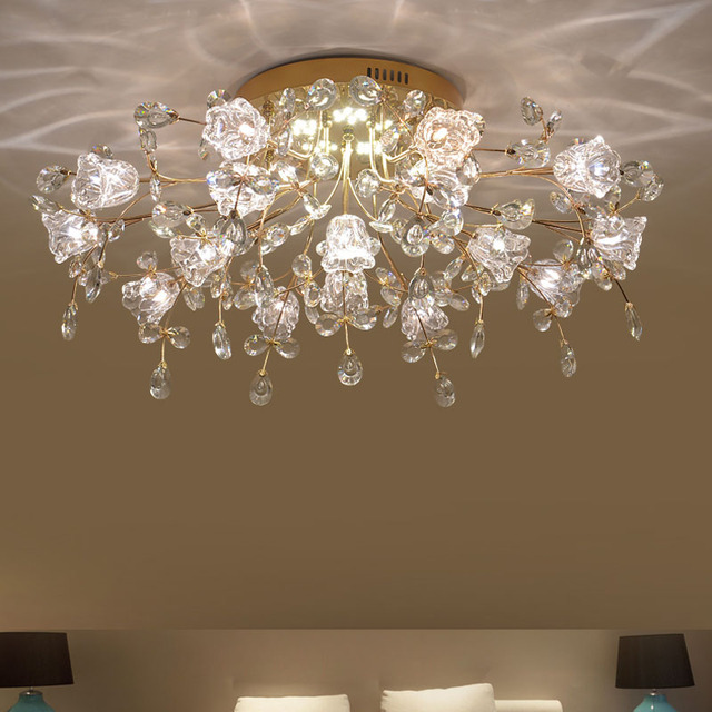 Modern Living Room Crystal Lamp Ceiling Lights Warm Romantic Flower Wedding  Room Bedroom Lamp Hall Dining