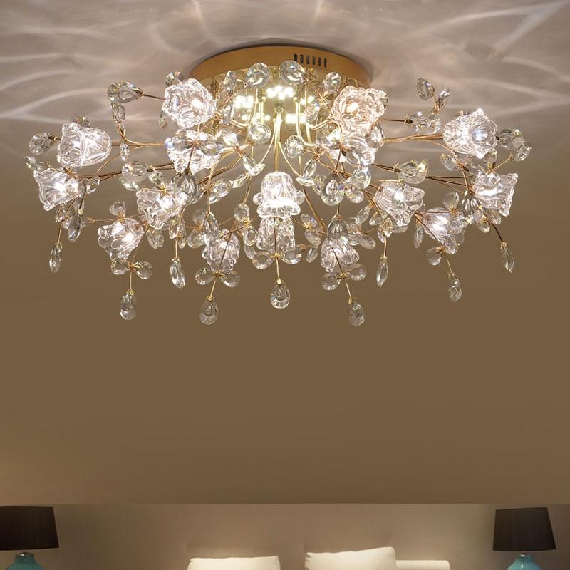 Modern living room crystal lamp ceiling Lights warm romantic flower wedding room bedroom lamp hall dining room crystal lighting