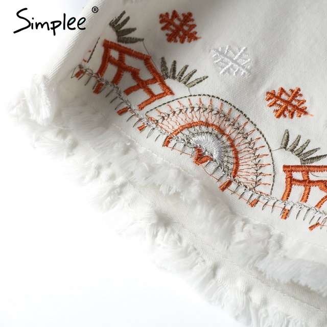 Simplee Casual fringe flower embroidery pencil skirt Chic slim high waist denim skirt Summer women mini skirt bottom