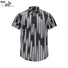 Sunboat Brand 2017 New Arrivals Printed 3D Lines Short sleeved Shirt High Quality font b Men