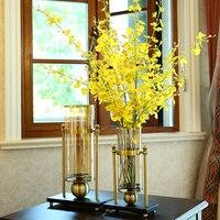 Creative Europe Glass Transparent Vase Living Room Flower Tabletop Vase Luxury Metal Decorations Ornament Alloy Gold Bronze Vase