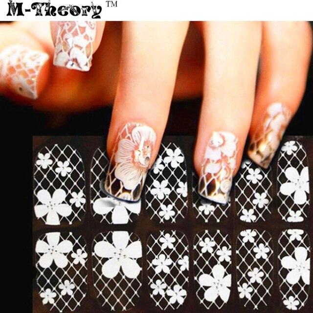 Retro Women Fashion Nail Stickers Adhesive Nails Wraps White Lace