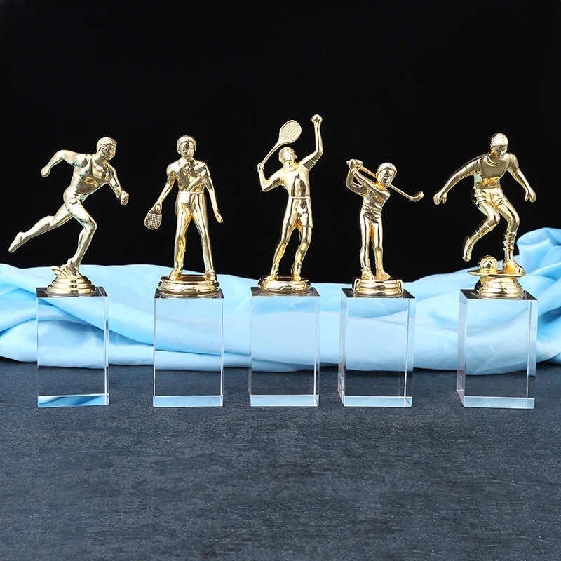 Новый Хрустальный спортивный трофей, спортивные мероприятия, Футбол бадминтон, медаль, Школьное Спортивное состязание, подарки, настройка трофеи и награды