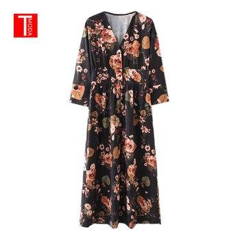 ba28a48a91b4f82 Осеннее платье 2018 женское винтажное платье с цветочным принтом женское  v-образный вырез три четверти рукав повседневное длинное платье хал.