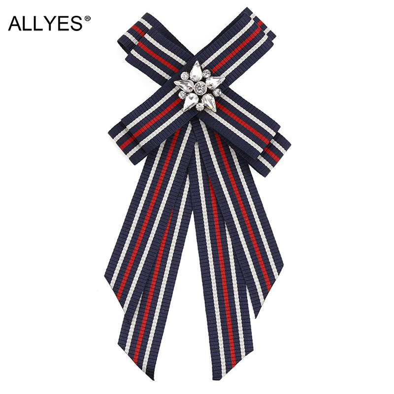 ALLYES Crystal Flower Bowknot Brooches For Women Fabric Strip Elegant Female Occupation Shirt Collar Bow Tie Brooch Pin Jewelry