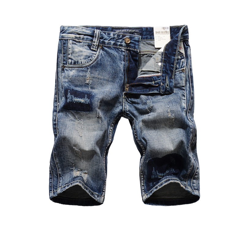 Italian Style Summer Men Jeans Shorts Vintage Retro Ripped Jeans Men Shorts Brand Clothing Knee Length Denim Shorts Men