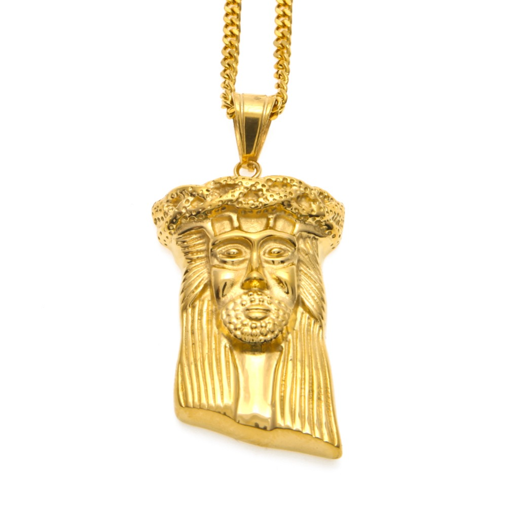 01ceb7d8d15 MCSAYS Hip Hop Jewelry Gold Color Jesus Head Face Pendant 60cm Link Chain  Personality Necklace Mens Fashion 4GM-in Pendant Necklaces from Jewelry ...