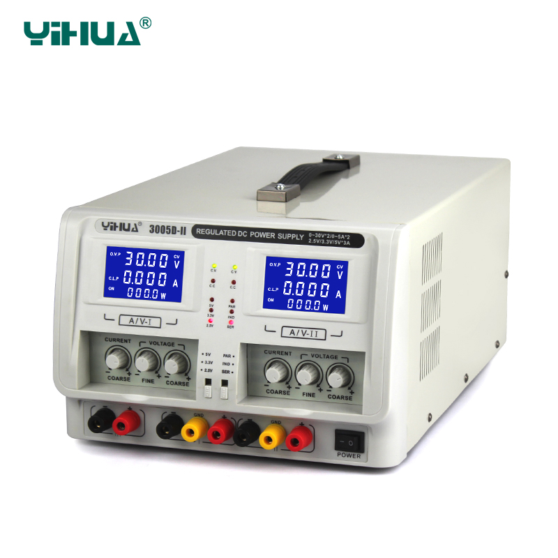 YIHUA 3005D-II Dual Channel Output Regulated DC Power Supply Variable 0-30V 0-5A Adjustable Voltage Supply yh 1502dd 15v 2a adjustable variable dc power supply