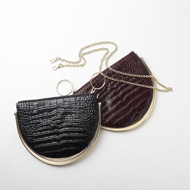 2018 New Design Korean Version Metal Handle Alligator Half Moon Bag Women cow leather Handbag Trend Design