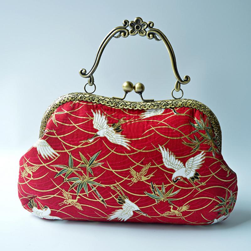 Vintage Purse Frame Clutch Bag Clasp Arc-shaped/Embossing Square Metal Purse Bag Clasp w/ Handle DIY Accessories