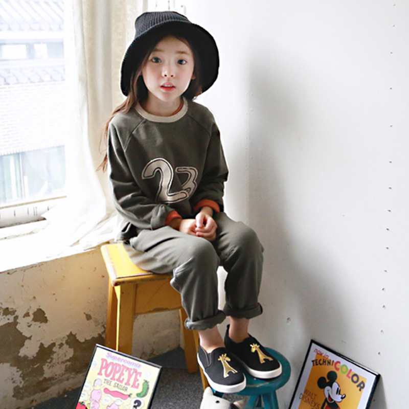 ФОТО Retails 2015 hot-selling autumn letter print clothing set baby girls clothing kids clothes children long sleeve sport suit