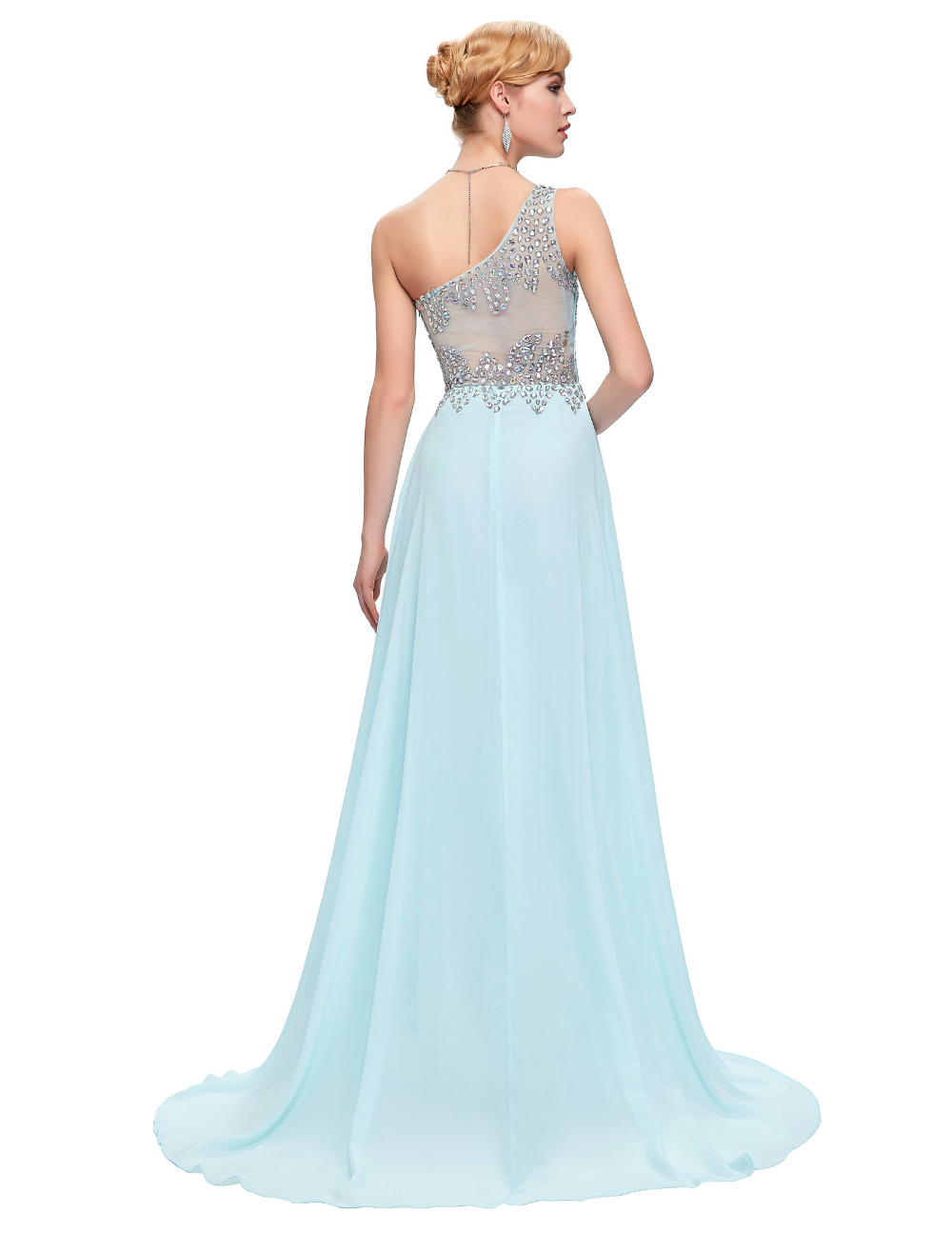 Grace karin long bridesmaid dresses light blue navy blue pink grace karin long bridesmaid dresses light blue navy blue pink green one shoulder prom gown beaded chiffon bridesmaid dress 2018 in bridesmaid dresses from ombrellifo Image collections