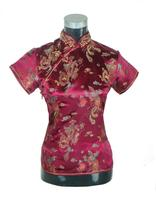 Burgundy Chinese Female Silk Satin Tang Suit Tops Vintage Dragon Shirt Summer Novelty Blouse Size S M L XL XXL A0020