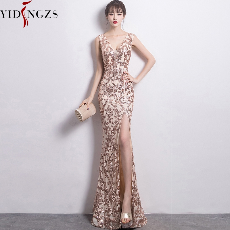 YIDINGZS See-through V-neck Sequins Party Dress Sexy Long Evening Dresses YD1202