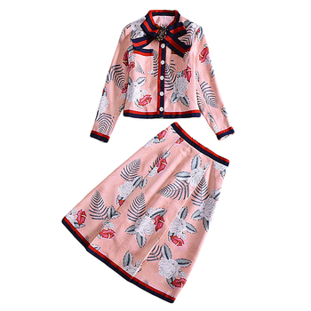 XF 2018 Fashion Runway Two-Piece Spring Summer Dress Women Bohemian Bow Print Button Coat + Floral Print Skirt Jacquard 2 Sets