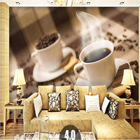 Customize 3d Photo Wallpaper Modern Simple Leisure Cafe Personality Bar Box Coffee Cup 3D Wall Mural