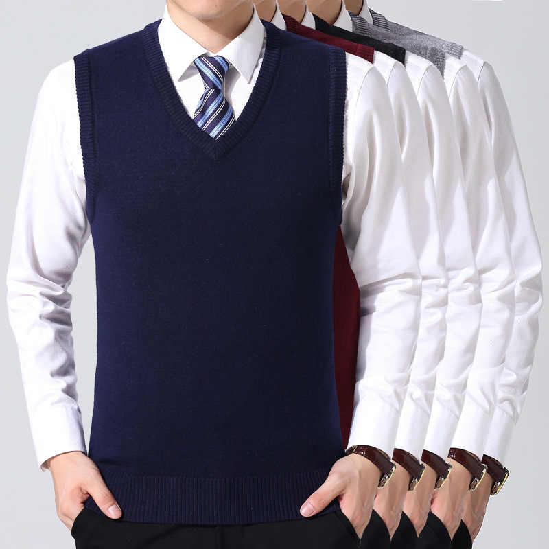 2019 New Cotton Knitted Pullover Men V-Neck Sleeveless Formal Business Pull Homme Casual Solid Sweater Men Thin Sweaters Vest