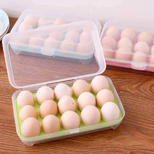 15 Grid Single Layer Egg Refrigerator Storage Box Food Preservation Plastic Airtight Container Kitchen Tool