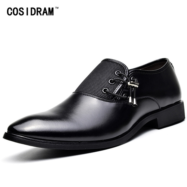 COSIDRAM New 2018 PU Leather Dress Shoes For Men Formal Shoes Spring Pointed Toe Wedding Business Shoes Male Fashion BRM-951