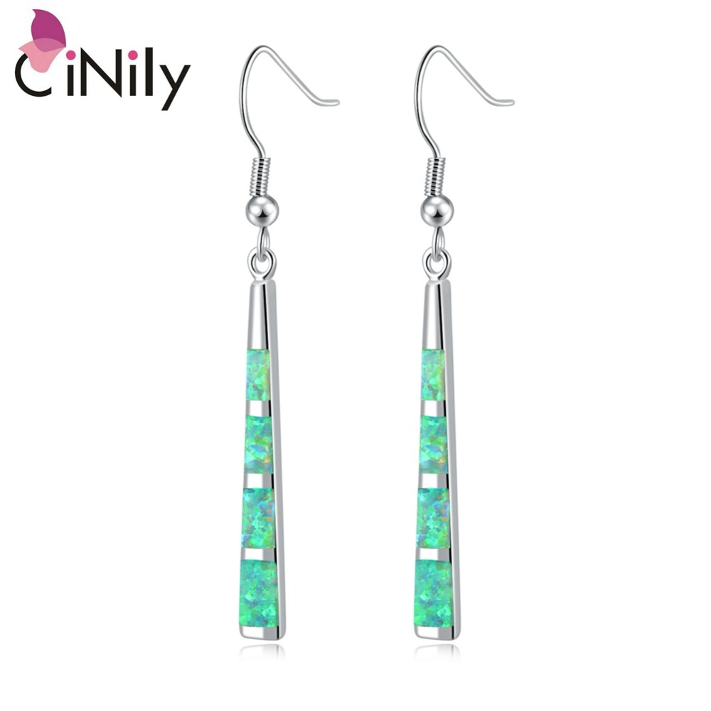 CiNily Natural Green Square Fire Opal Stone Dangle Drop Earrings Silver Plated Bohemia Boho Summer Jewelry Gift Woman Girl