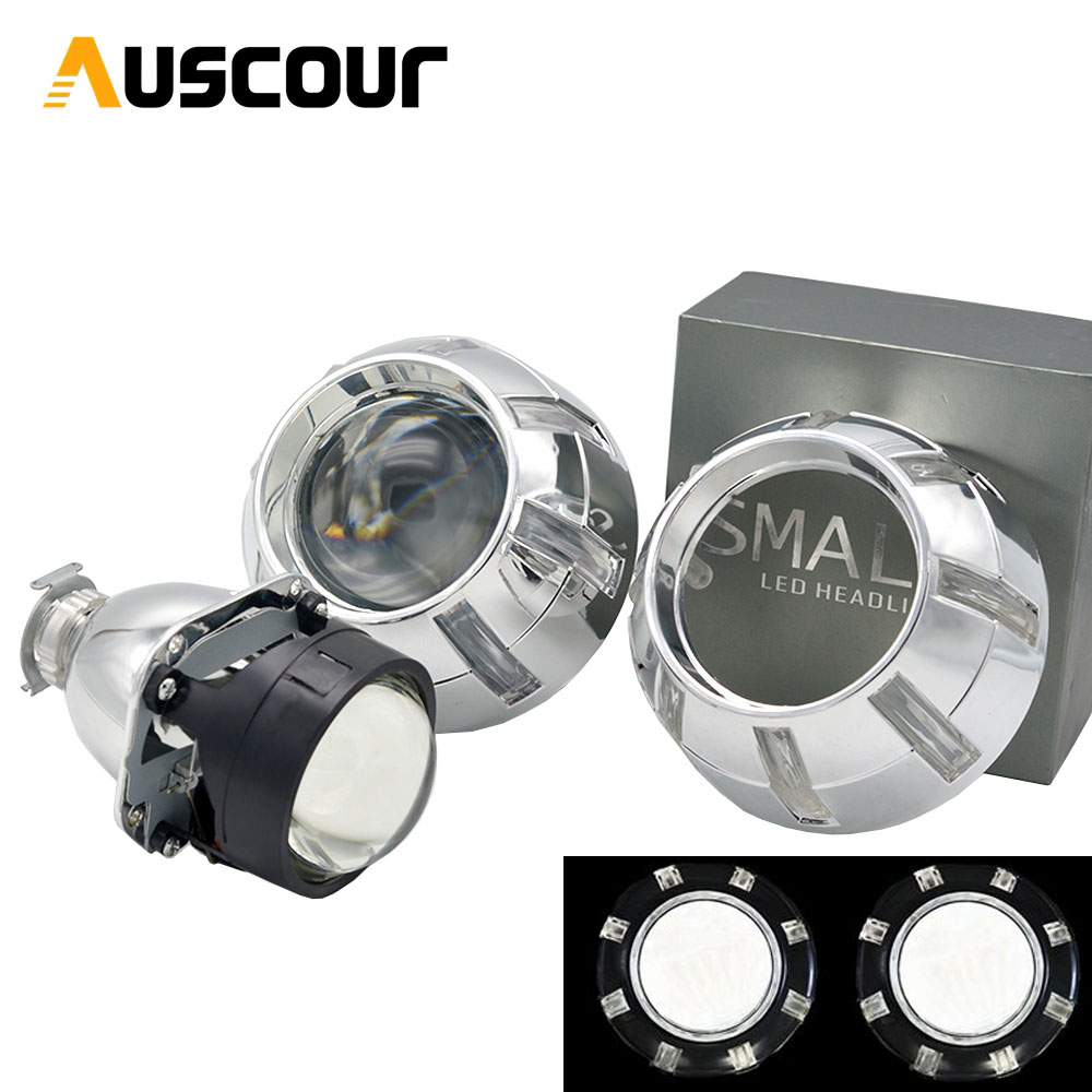 "2pcs 2.5/"" Bi-Xenon HID Projector Lens Kit Car H1 Headlight LHD H4//H7 w// Shroud"